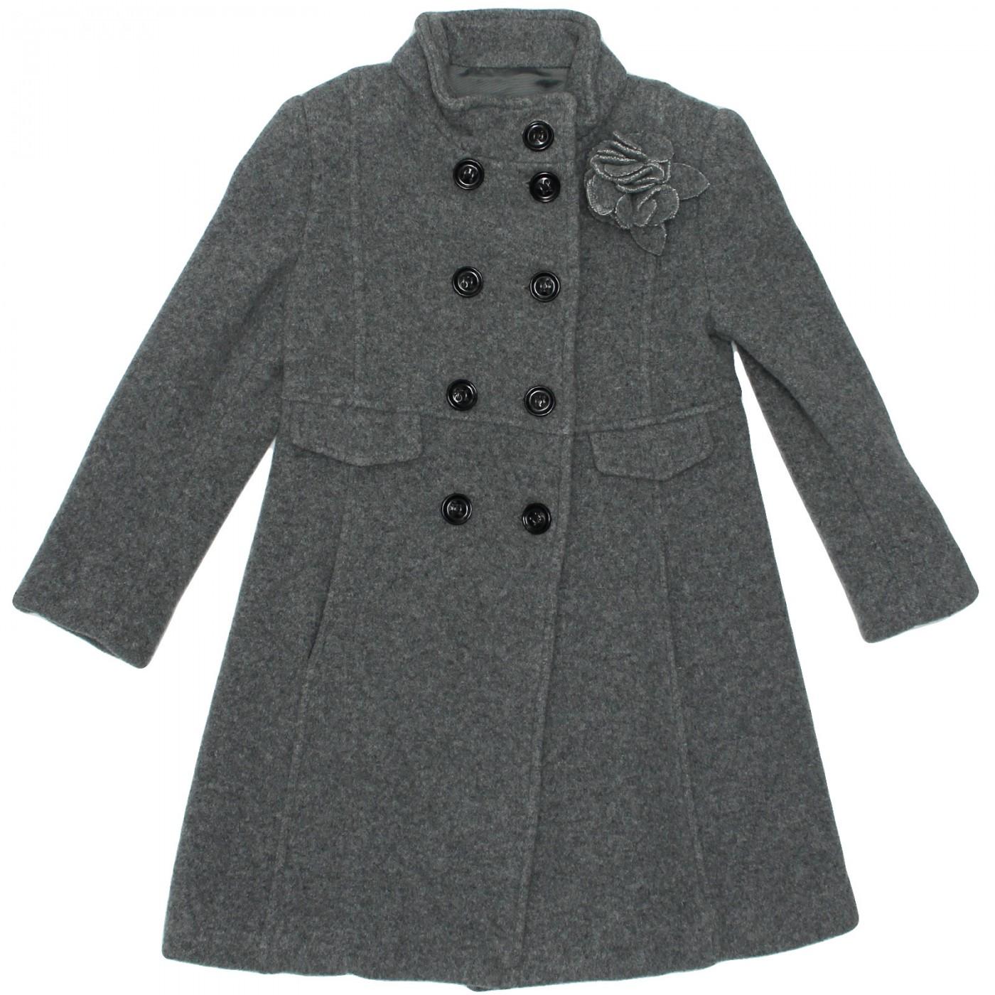 Пальто шерстяное серое Aletta AGC222466