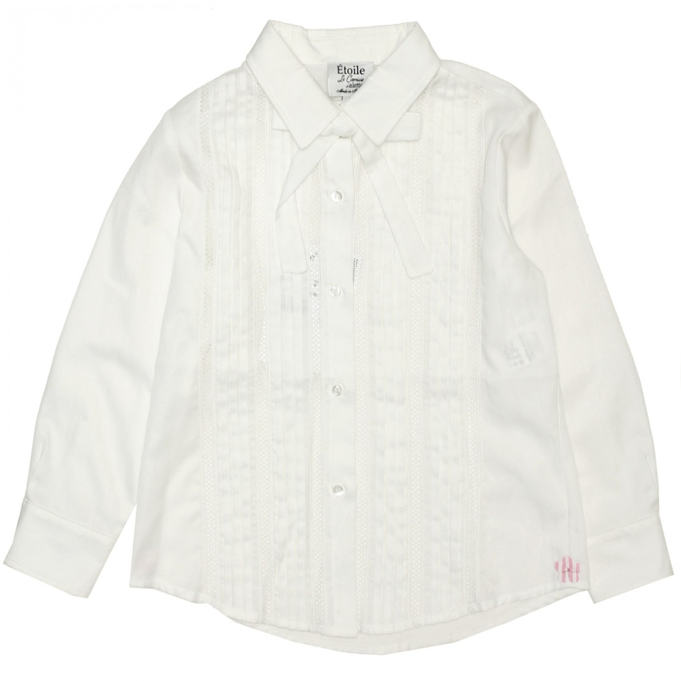 Блуза белая с ажурными вставками Aletta AC333352