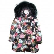 Пальто черное с цветами