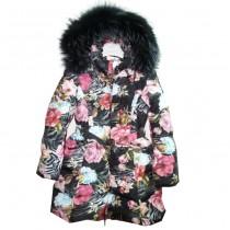 Пальто черное с цветами Manudieci P1135474
