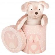 Щенок розовый в подарочной коробке