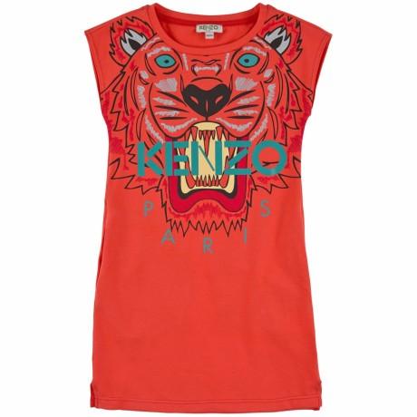 Оранжевое платье с тигром Kenzo