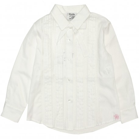Блуза белая с ажурными вставками Aletta