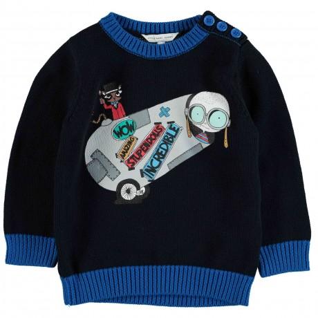 Пуловер темно-синий Little Marc Jacobs