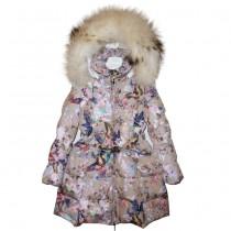 Пальто бежевое с мехом Manudieci P1145464