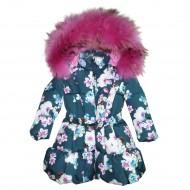 Пальто пуховое с принтом
